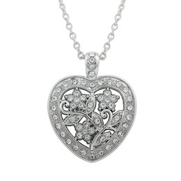 Wholesale Crystal Flower Necklace Handmade - top rhodium plated elegant dangle heart Shape flower of life pendant necklaces link chain Handmade diy jewelry