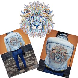 Wholesale Printed Stickers - Folk-custom lion patch for clothing Diy T-shirt Hoodies and denim jacket thermal transfer Printed A-level Washable Sticker free shopping