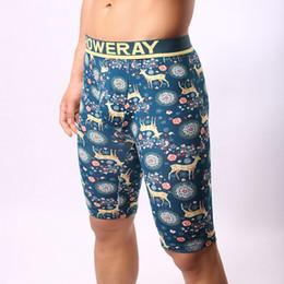 Wholesale Skinny Sleepwear - Long Boxershort 2017 New Print Sexy Fifth Long Johns Men Cotton Elastic Waist Legging Sleepwear Tights Print Knee Length Short