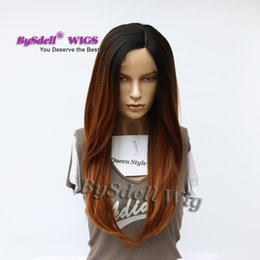 Wholesale Two Parting Wigs - Synthetic Heat Resistant Two Tone Black Ombre Brown 30# Color Hair Lace Front Wig Wholesale Side Part Natural Hairline Lace Front Wigs