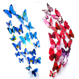 Wholesale Magnetic For Fridge - 3D Butterfly Wall Stickers Magnetic Simulation Butterfly wall decor Home decoration art Decals Removable PVC fridge Refrigerator decor DHL