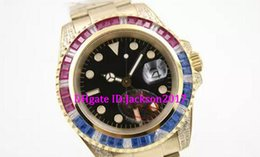 Wholesale Mens Golden Wrist Watches - Luxury Brand Black Dial Golden Stainless Belt Whatches Blue and Red Diamond Irab Bezel Watch Mens Fashion Wrist Watches