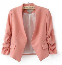 Wholesale Ladies Beige Blazers - 2017 Women Slim Blazer New Casual Ladies Candy Color Female Suit Coat Plus Size Feminino Jacket