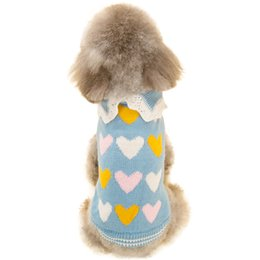Wholesale Drop Shipping Pet Apparel - Autumn Winter Pet Fashion Knit Sweater with Lovely Heart Pattern Cute Puppy Little Dogs Clothes Coat Outwear Apparel Drop Shipping