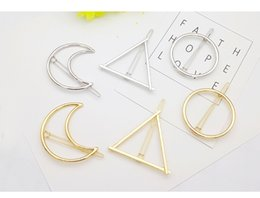 Wholesale Buckle Barrette - Creative hollow out alloy hairpin diamond shaped hair clips Simple fashion frog buckles clip hairpin geometric figure barrettes