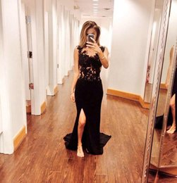 Wholesale Tailor Mermaid Dress - New Fashionable Mermaid Lace Split Leg Tailor Made Evening Dresses Crystals Appliqued Chiffon New Prom Dresses