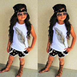 Wholesale Animal Print Girls Outfits - kids feather print T shirt 3pc set sleeveless T shirt+metallic dots print pants+bow headband Girls fashion ins hot summer outfits for 1-3T