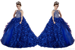 Wholesale Little Girl Dance - Luxury Royal Blue Little Girls Pageant Dresses Ruffled Crystal Beads Princess Dance Ball Gowns Kids Party For Wedding Flower Girl Dresses