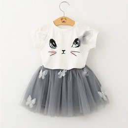 Wholesale nets dress new style - Girls Clothing Sets New Summer Fashion Style Cartoon Kitten Printed T-Shirts+Net Veil Dress 2Pcs Girls Clothes Sets