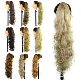 "Wholesale Hair Clips For Ponytail Extensions - Wholesale- Claw Clip Drawstring Ponytail 31"" Long Fake Hair Extensions False Pony Tails Horse Tress Curly Hairpieces For Halloween Party"