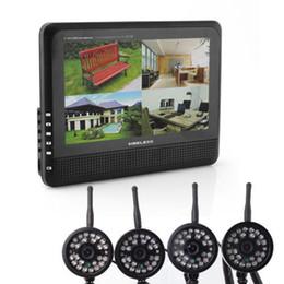 """Systèmes de caméras de sécurité dvr sans fil en Ligne-2,4 GHz sans fil 4 canaux Quad Système de sécurité CCTV 4 caméras + 7 """"LCD DVR / NVR 300 M transfert Vision nocturne bébé moniteur"""