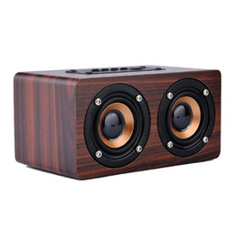 Wholesale Wooden Wireless Speakers - Wholesale- Avanshare Wooden HIFI Bluetooth Speaker 10W Dual Loudspeakers Surround Mini Wood Wireless Speaker for Phone computer free ship