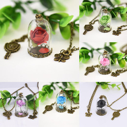 Wholesale Enchanted Rose Beast - 12Pcs Lot Beauty and The Beast Enchanted Rose Inspired Necklace Rose Glass Dome bronze tone mirror charm