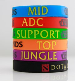 Wholesale Silicon Bracelets Printing - 50pcs Lot, New Trendy LOL League of Legend Wristband, Silicon Bracelet with ADC, JUNGLE, MID, SUPPORT, DOTA 2 Printed Band