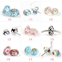 Wholesale Stocking Charm - 2017 Newest fashion loose beads 925 Sterling Silver Murano Glass Charm Bead For Pandora Bracelet Epacket free in stock