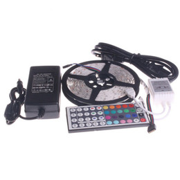 Wholesale Ir Controller For Led Lights - New Flexible RGB LED Light Strip 5050 SMD 16.4ft 5M 300 LEDs WATERPROOF FREE IR 44Key REMOTE Controller for Christmas Decoration + Adapter