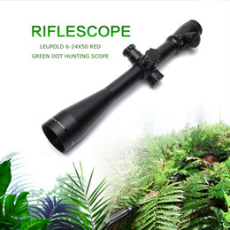 Wholesale fiber optic sight rifle - wholesale Leupold MARK 4 6-24X50 M1 Optics Riflescope Long Eye Relief Rifle Scope Red and Green Dot Fiber Reticle Sight For Rifle Hunting