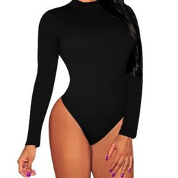 Wholesale Womens Turtleneck Size - Plus Size S-3XL Bodycon Bodysuits Rompers Womens Jumpsuit 2017 Spring Autumn Sexy Turtleneck Long Sleeve Playsuits Overalls