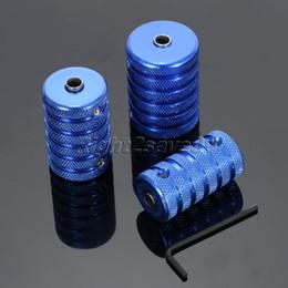 Wholesale Tattoo Gun Kit 25 - Wholesale- 3pcs Aluminum Alloy Knurled Blue Tattoo Grip Stainless Steel Kit Set 25 30 35mm For Tattoo Machine Gun Tattoo Grip Round Tube