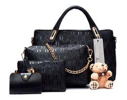 Wholesale Black Bag Yellow Handles - Soperwillton Famous Brand Women Bag Top-Handle Bags 2017 Fashion Women Messenger Bags Handbag Set PU Leather Composite Bag