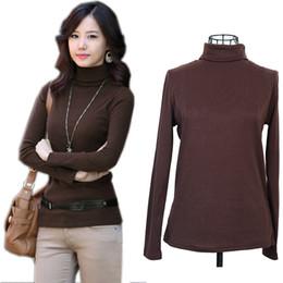 Wholesale Korean Winter Ladies Pullover - Wholesale-Autumn winter Fashion Korean Plus Size XL-4XL Long Sleeve Turtleneck Basic Women Sweaters and pullovers Ladies Knitted Sweaters.