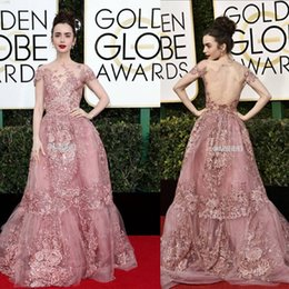 Wholesale Golden Sexy Club Dresses - Zuhair Murad 2017 Formal Celebrity Evening Dresses Sheer Neck Lace Appliques Short Sleeves Red Carpet Prom Gowns In 74th Golden Globe Awards