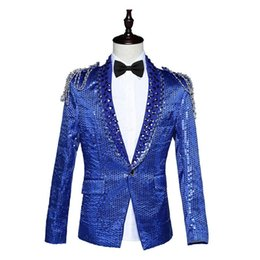 Wholesale Suit Buttons For Sale - Hot Sale 2016 Red Blue White Long Sleeves Sequins Notched Suits Slim Stage Singer Solo Performance Costumes For Men