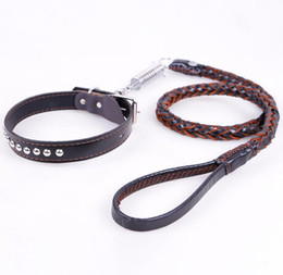 Wholesale Dog Collar Leather Riveted - Luxury Fashion Style Round Rivet Decorative Leather Dog Collar and Weaving Dog Leash Set Puppy Pet Lead Rope Pet Dog Accessories