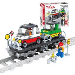 Wholesale Plastic Train Sets Kids - J525 Train Track Car Building Block Sets 118pcs Enlighten Child Educational Construction Bricks Toys Kids Gift