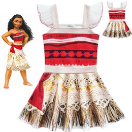 2017 breloques pour enfants Moana Cosplay Costume Robes Baby Girls Summer Imprimé Dress Kids Suspenders Films Moana Princess Robe sans manches