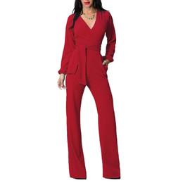 Casual, rosso, nero, jumpsuits online-Wholesale- Long Black Red Pagliaccetti Womens Jumps Winter Autumn Party tute sexy per le donne con scollo a V telai full manica sciolti club pantaloni
