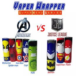 аккумуляторные батареи Скидка 11 Стилей Decration 18650 стикер батареи Росомаха Человек-Паук Капитан Америка Super Hero Vaper Wrapper обложка кожи для батареи 18650