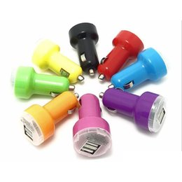 Wholesale Usb Flash Adapter - Colorful Mini Car Charger USB 2 Port Cigarette 2.1A Chargers Micro Dual USB Adapter Flash Nipple Dual USB Port for Phone & Pad