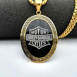Wholesale Hip Hop Pendant Brand - Europe and the United States new tide brand Harley stainless steel gold army brand hip-hop punk rock Dog Tag Pendant