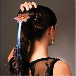 Wholesale Headdress Props Flowers - Rose Flower Flash Braid Colorful Flash Braid Luminous LED Hearwear Headdress Masquerade Festival Props Fiber Optic Hair Light