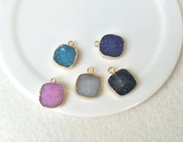 Wholesale Agate Druzy Geode Pendant Bead - 5pcs 12mm Square Gold Plated Natural Quartz Druzy Pendant Bead,Agate Geode Drusy Charm Jewelry necklace bracelet Making PD468