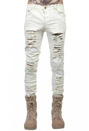 Белые мужские джинсы онлайн-fashion men's jeans ripped jeans for men skinny Distressed slim famous brand designer biker hip hop swag black/white slim pants size 28-38