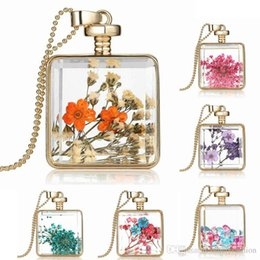 Wholesale Square Cabochons - Natural Flower Necklace Gold Plated Glass Cabochons Square Locket Charms Pendant Necklaces Different Designs Mixed Jewelry For Girl