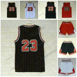 Wholesale Cheap Black Clothing - Cheap Throwback Basketball Jerseys Clothes Black Retro Mens Basketball Jersey Classical Red #23 Shirts Embroidered Logos With Player Name