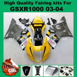 Wholesale Gsxr Grey - 9Gifts, Injection fairings for SUZUKI GSXR1000 2003 2004 GSX-R1000 03 04 Fairing kit GSXR 1000 2003 2004 K3 K4 yellow black grey #87L17