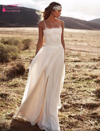 Discount vestidos wedding dress lace - 2016 Sexy Spaghetti Straps Boho Bohemian Wedding Dresses Lace Appliques Chiffon Beach Bridal Gowns Illusion Cheap Custom Vestidos de Novia
