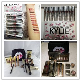 Wholesale Color Gift Boxes - Kylie Makeup Bag Gift Box Golden Box Gloss Suits Holiday Collection Cosmetics Birthday Bundle Bronze Kyliner Brow Brush kylie 12pcs lipstick