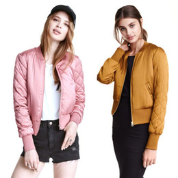 Wholesale Trendy Shorts Tops Wholesale - Wholesale- Autumn Candy Color Quilting Quilted Bomber Jacket Short Thin Padded Baseball Coat Pilots Winter Trendy Women Girls Outerwear Top