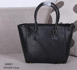 Wholesale Red Interior Trim - Women Phenix PM M50803 Black Color Épi Cowhide Leather Tote and Shoudler Bags,Smooth Cowhide Leather Trim,Microfiber Lining,2 Toron Handles,