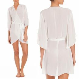 Wholesale Sleepwear Long Sleeve Chiffon - New Arrival Lingerie Sexy White Chiffon Robe Custom Made Long Sleeves Bathrobes Pajamas For Women Above Knee Sleepwear Robes