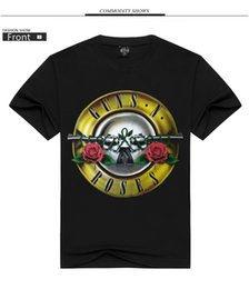 Wholesale Button Prints - 2017 Fashion Rock guns and roses short sleeves T-shirts men's women's guns flower band casual cotton large size short t
