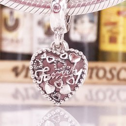 Wholesale Autumn Pendants - 2017 Autumn Arrival Charms Authentic 925 Sterling Silver Beads Love Makes A Family Pendant For DIY Pandora Style Jewelry Bracelet 796459EN28