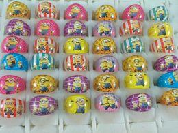 Atacado 200 pçs / lote Minions Anéis de Resina Crianças Meninas crianças Aniversário Presente Da Festa de Natal de