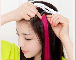 moda destaques cabelo Desconto Extensão do cabelo da moda para as mulheres Longo Grampo Sintético Em Extensões Parte Dianteira Em Linha Reta Partido Destaques do cabelo Do Punk peças DHL freeshipping