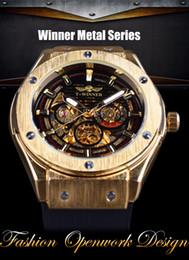 Wholesale Skeleton Watch Bronze - Winner Red Fashion Stylish Skeleton Diamond Luxury Design Mens Watches Top Brand Luxury Male Wrist Watch Mechanical Watch Clock